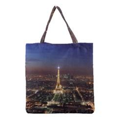 Paris At Night Grocery Tote Bag by Celenk