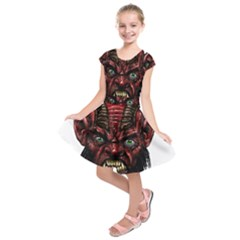 Krampus Devil Face Kids  Short Sleeve Dress