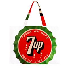 Fresh Up With  7 Up Bottle Cap Tin Metal Zipper Large Tote Bag by Celenk
