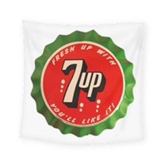 Fresh Up With  7 Up Bottle Cap Tin Metal Square Tapestry (small) by Celenk