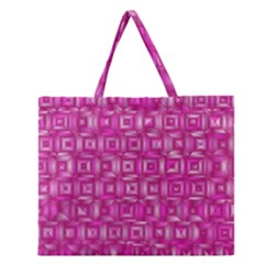 Classic Blocks,pink Zipper Large Tote Bag by MoreColorsinLife