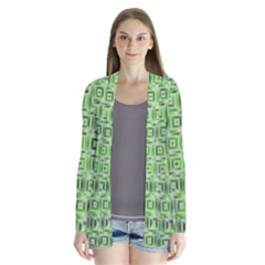 Classic Blocks,green Drape Collar Cardigan by MoreColorsinLife