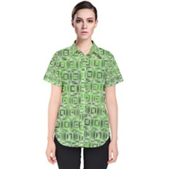 Classic Blocks,green Women s Short Sleeve Shirt by MoreColorsinLife