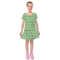 Classic Blocks,green Kids  Short Sleeve Velvet Dress by MoreColorsinLife