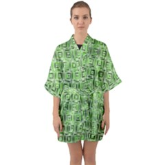 Classic Blocks,green Quarter Sleeve Kimono Robe by MoreColorsinLife