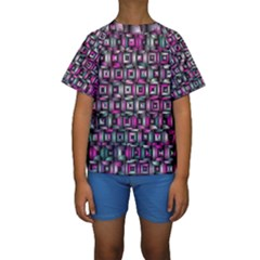 Classic Blocks,pink Combo Kids  Short Sleeve Swimwear by MoreColorsinLife