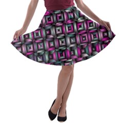Classic Blocks,pink Combo A Line Skater Skirt by MoreColorsinLife