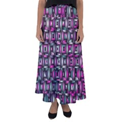Classic Blocks,pink Combo Flared Maxi Skirt by MoreColorsinLife