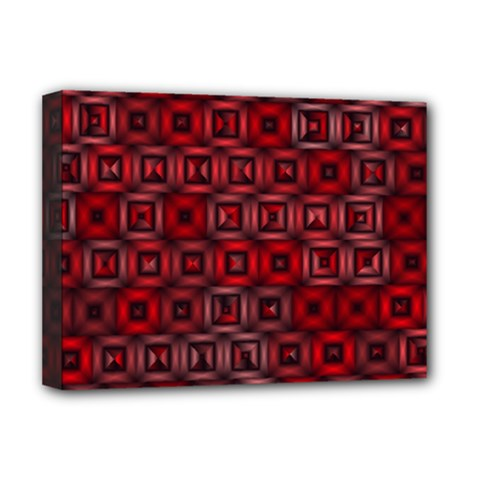 Classic Blocks,red Deluxe Canvas 16  X 12   by MoreColorsinLife
