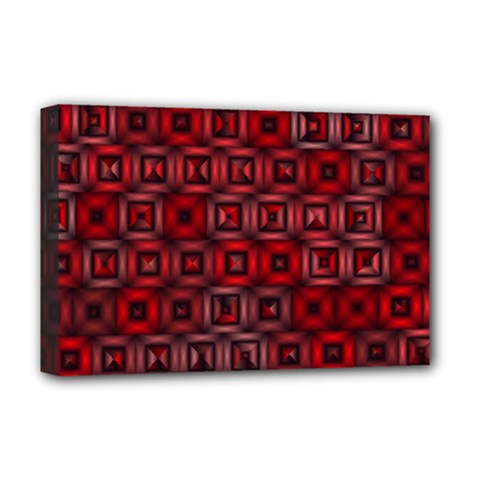 Classic Blocks,red Deluxe Canvas 18  X 12   by MoreColorsinLife