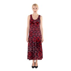 Classic Blocks,red Sleeveless Maxi Dress by MoreColorsinLife