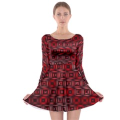 Classic Blocks,red Long Sleeve Skater Dress by MoreColorsinLife