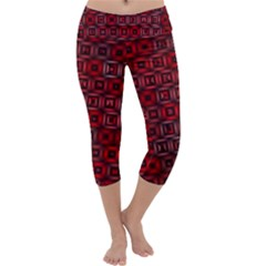 Classic Blocks,red Capri Yoga Leggings by MoreColorsinLife