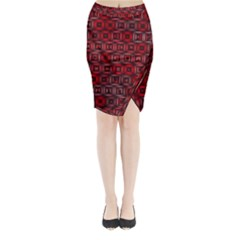 Classic Blocks,red Midi Wrap Pencil Skirt by MoreColorsinLife