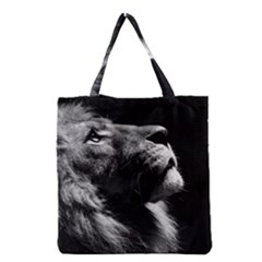 Male Lion Face Grocery Tote Bag by Celenk