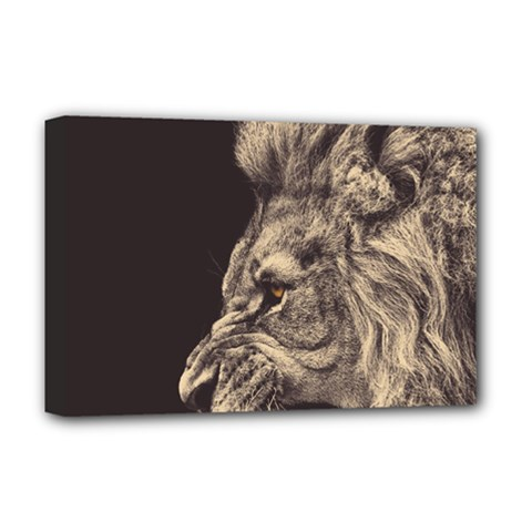 Angry Male Lion Deluxe Canvas 18  X 12   by Celenk