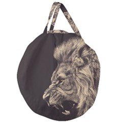 Angry Male Lion Giant Round Zipper Tote