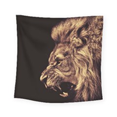 Angry Male Lion Gold Square Tapestry (small)