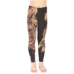Angry Male Lion Gold Kids  Legging