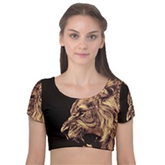 Angry Male Lion Gold Velvet Crop Top