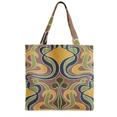 Art Floral Zipper Grocery Tote Bag by 8fugoso