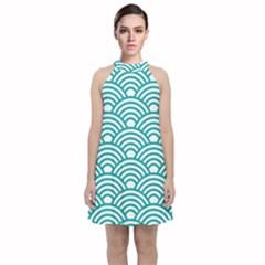 Art Deco Teal Velvet Halter Neckline Dress