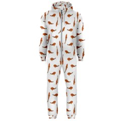Koi Fishes Motif Pattern Hooded Jumpsuit (men)