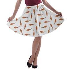 Koi Fishes Motif Pattern A Line Skater Skirt by dflcprintsclothing