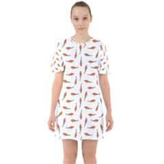 Koi Fishes Motif Pattern Sixties Short Sleeve Mini Dress