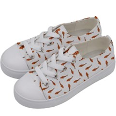 Koi Fishes Motif Pattern Kids  Low Top Canvas Sneakers by dflcprintsclothing