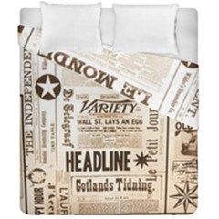 Vintage Newspapers Headline Typography Duvet Cover Double Side (california King Size) by yoursparklingshop