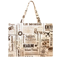 Vintage Newspapers Headline Typography Zipper Large Tote Bag by yoursparklingshop