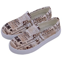 Vintage Newspapers Headline Typography Kids  Canvas Slip Ons by yoursparklingshop