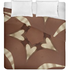 Chocolate Brown Kaleidoscope Design Star Duvet Cover Double Side (king Size) by yoursparklingshop