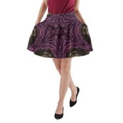 Pink Purple Kaleidoscopic Design A Line Pocket Skirt by yoursparklingshop
