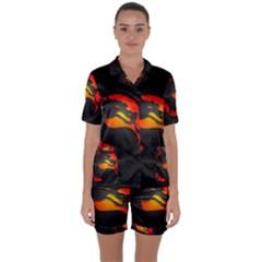 Dragon Satin Short Sleeve Pyjamas Set