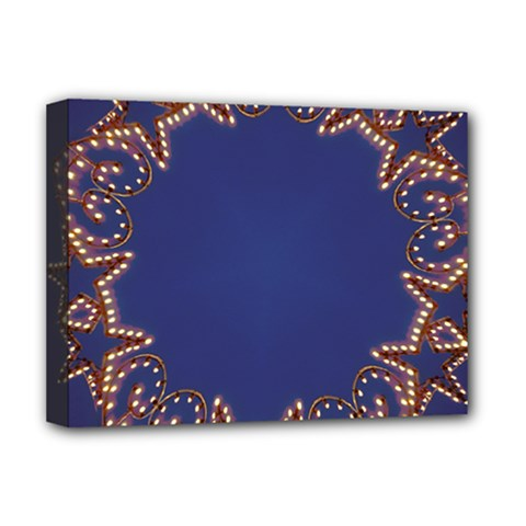 Blue Gold Look Stars Christmas Wreath Deluxe Canvas 16  X 12   by yoursparklingshop