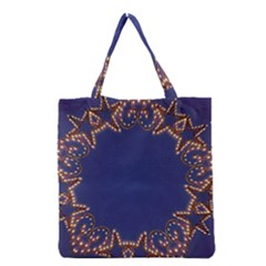 Blue Gold Look Stars Christmas Wreath Grocery Tote Bag by yoursparklingshop