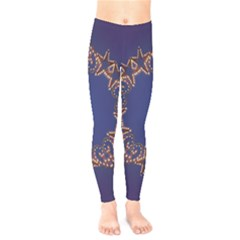 Blue Gold Look Stars Christmas Wreath Kids  Legging by yoursparklingshop