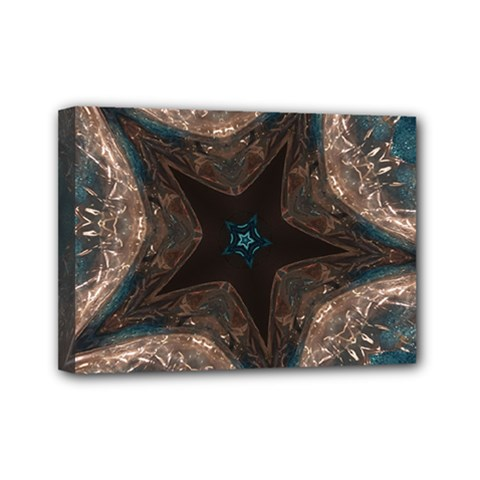 Kaleidoscopic Design Elegant Star Brown Turquoise Mini Canvas 7  X 5  by yoursparklingshop