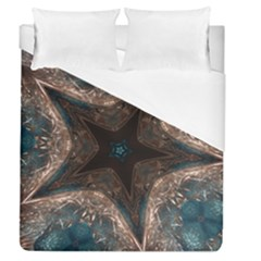 Kaleidoscopic Design Elegant Star Brown Turquoise Duvet Cover (queen Size) by yoursparklingshop