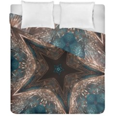 Kaleidoscopic Design Elegant Star Brown Turquoise Duvet Cover Double Side (california King Size) by yoursparklingshop
