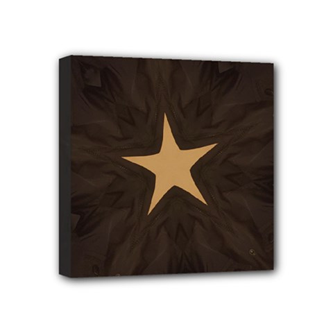 Rustic Elegant Brown Christmas Star Design Mini Canvas 4  X 4  by yoursparklingshop