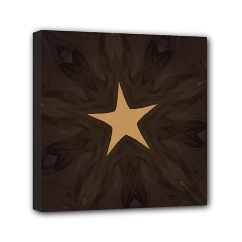 Rustic Elegant Brown Christmas Star Design Mini Canvas 6  X 6  by yoursparklingshop