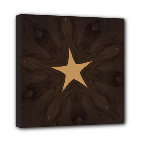 Rustic Elegant Brown Christmas Star Design Mini Canvas 8  X 8  by yoursparklingshop