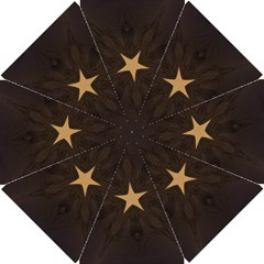 Rustic Elegant Brown Christmas Star Design Golf Umbrellas by yoursparklingshop