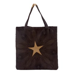 Rustic Elegant Brown Christmas Star Design Grocery Tote Bag by yoursparklingshop