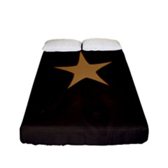 Rustic Elegant Brown Christmas Star Design Fitted Sheet (full/ Double Size) by yoursparklingshop