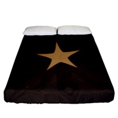 Rustic Elegant Brown Christmas Star Design Fitted Sheet (queen Size) by yoursparklingshop