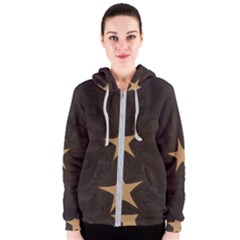 Rustic Elegant Brown Christmas Star Design Women s Zipper Hoodie by yoursparklingshop